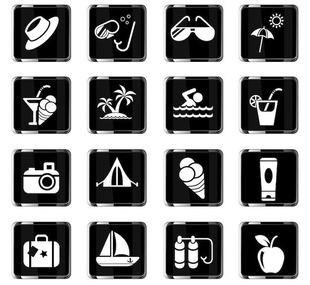 Iconos web de verano para el diseño de la interfaz de usuario