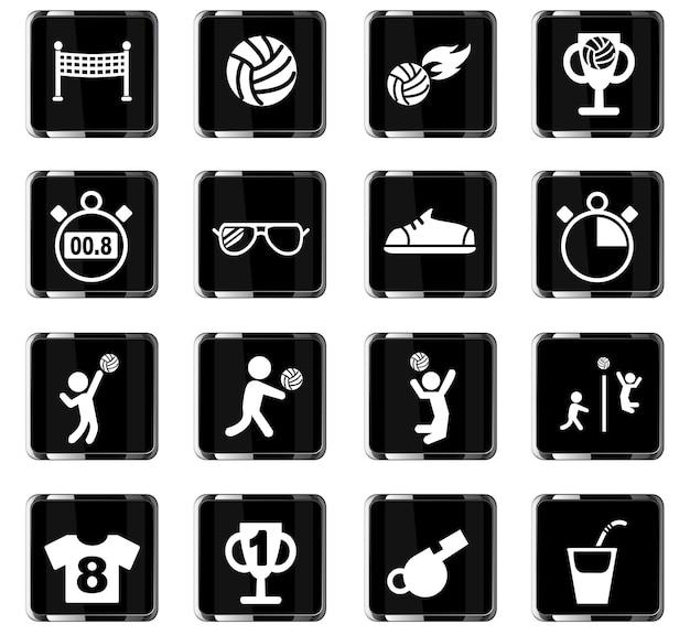 Iconos web de voleibol para el diseño de la interfaz de usuario