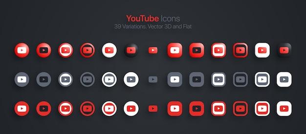 Iconos de youtube en 3d moderno y plano en diferentes variaciones