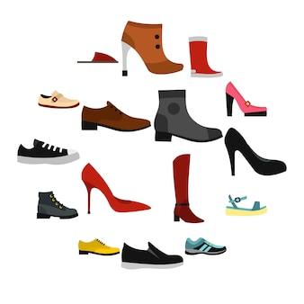 Iconos de zapatos en estilo plano