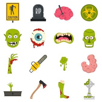 Iconos de zombies en estilo plano