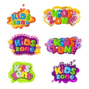 Iconos de zona infantil con inscripciones de letras de caramelo.
