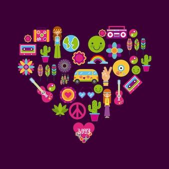 Icons set hippie scenery cartoon