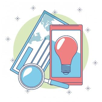 Idea de la aplicación de teléfono inteligente con lupa