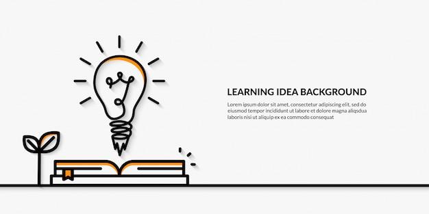 Idea de aprendizaje con el lanzamiento del banner de la bombilla de regreso a la escuela