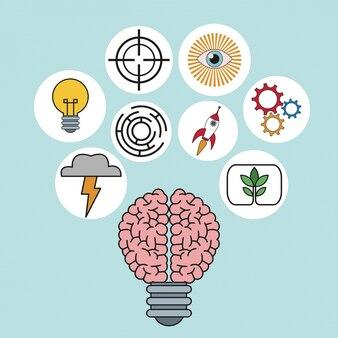 Idea de bombilla cerebro iluminación innovación