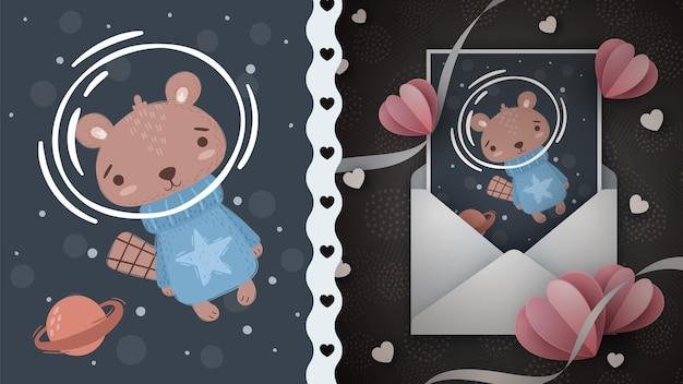Idea de castor espacial para tarjeta de felicitación