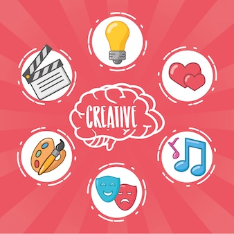 Idea de cerebro creatividad