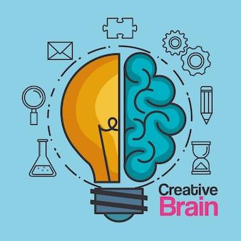 Idea de cerebro creativo innovación bombilla