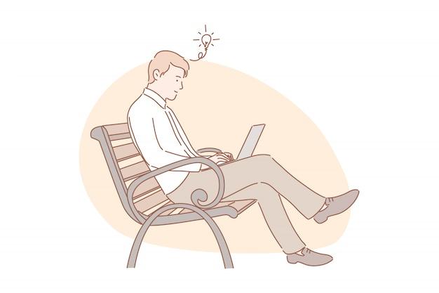 Idea, concepto de trabajo remoto independiente