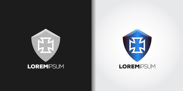 Idea de conjunto de logotipo de escudo