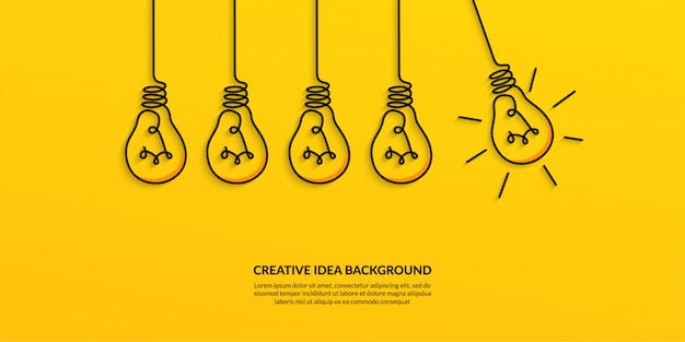 Idea creativa con banner de bombilla