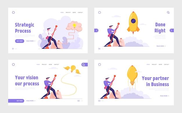 Idea creativa y conjunto de páginas de destino del sitio web de solución de búsqueda