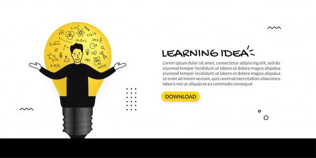 Idea creativa dentro de la bombilla sobre fondo blanco, aprendiendo el concepto con iconos de contorno