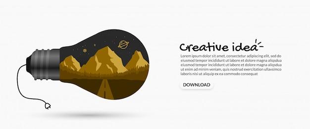 Idea creativa dentro de la bombilla sobre fondo blanco, pensando en el concepto de arte