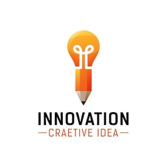 Idea creativa, diseño de logotipo de innovación, lápiz con bombilla para logotipo de concepto de escuela de herramientas