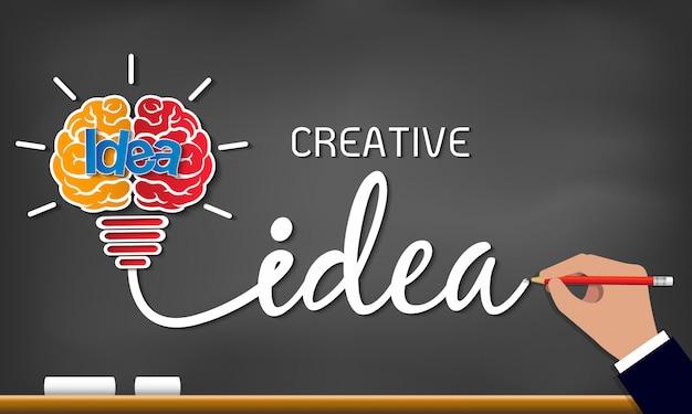 Idea creativa icono de bombilla. éxito de la chispa en la inspiración de negocios dibujo en pizarra