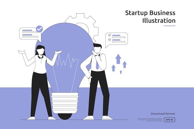 Idea creativa de oportunidad de negocio con ilustración de luz de empresario y bombilla. lanzamiento de puesta en marcha y empresa de inversión. diseño de metáfora de trabajo en equipo, página de destino web o móvil.