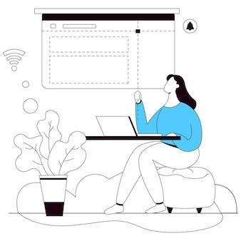 Idea diseñador web ilustración vector línea plana
