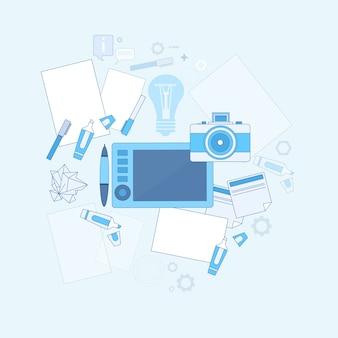 Idea de diseño gráfico diseñador de dibujo icono web delgada línea vector illustration