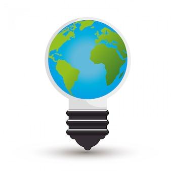Idea de ecología de bulbo diseño aislado en estilo plano