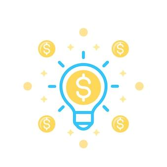 La idea es el icono de dinero en blanco