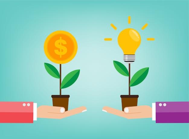 La idea es la idea de bulbo de cambio de mano de dinero al árbol de dinero