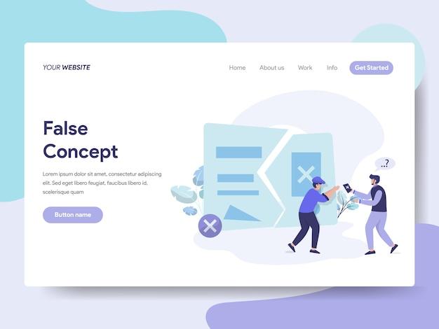 Idea falsa y concepto para la página web