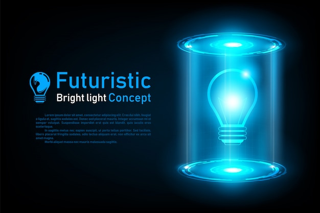 Idea futurista abstracta bombilla holograma
