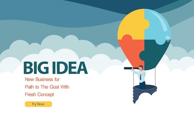 Idea de globo de aire caliente de rompecabezas empresarial para el éxito empresarial con plano