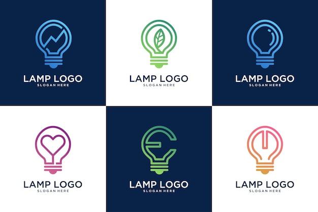 Idea de lámpara, colección de diseño de logotipos modernos creativos