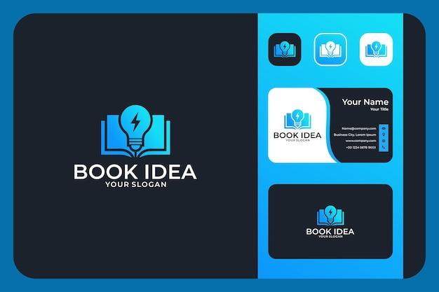 Idea de libro moderno con diseño de logotipo de lámpara y tarjeta de visita