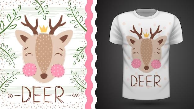 Idea linda de ciervo para camiseta estampada.