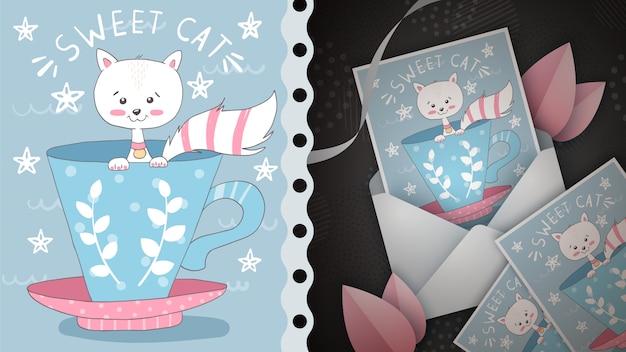Idea linda del gatito para la tarjeta de felicitación