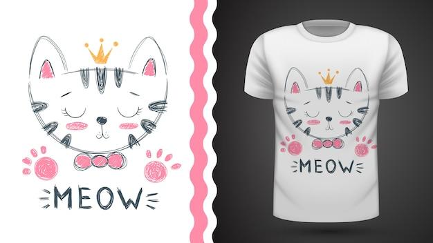 Idea linda del gato para la camiseta de la impresión