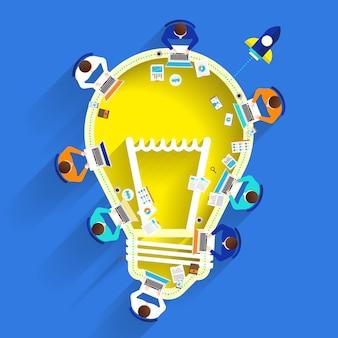 Idea de lluvia de ideas con bombilla