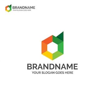 Idea de logotipo de polígono letra d