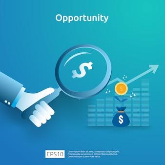Idea de negocio analítica y concepto de investigación de oportunidades con aumento gráfico de crecimiento gráfico y lupa en mano. rendimiento financiero del retorno de la inversión ilustración de roi con elemento de flecha