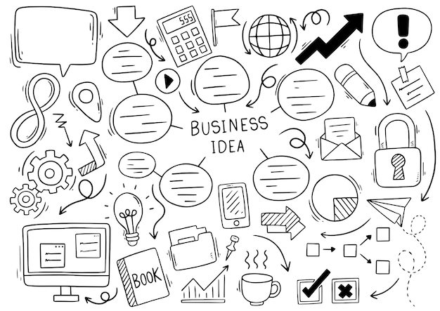 Idea de negocio dibujado a mano garabatos sobre fondo blanco