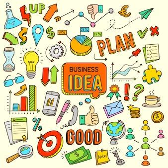Idea de negocio de dibujos animados color doodle ilustración
