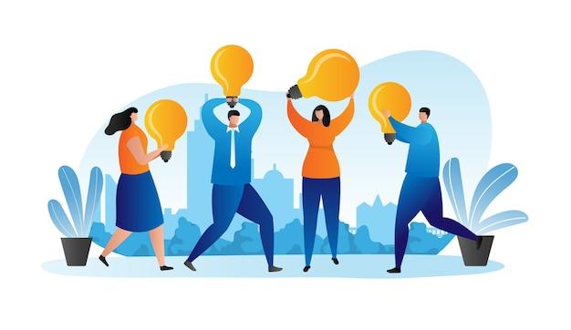 Idea de negocio, empresarios con concepto de diseño plano de bombillas