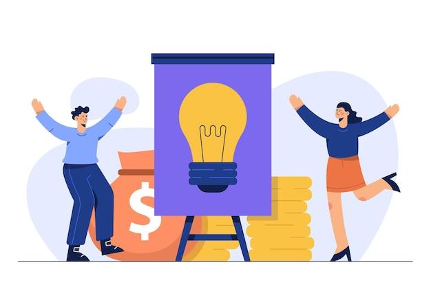 Idea de objetivo financiero, concepto de éxito de inversión.