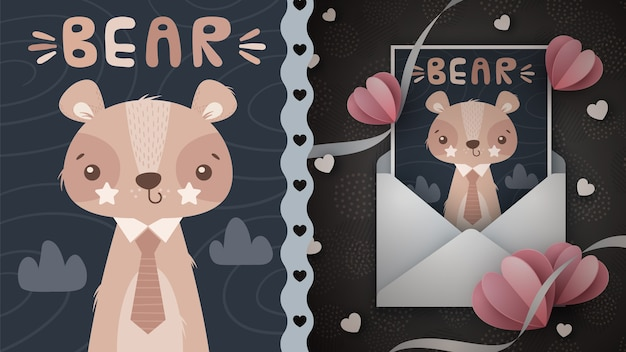 Idea de oso nocturno para tarjeta de felicitación