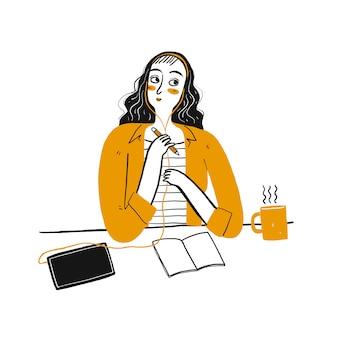 Idea de pensamiento linda chica en su oficina