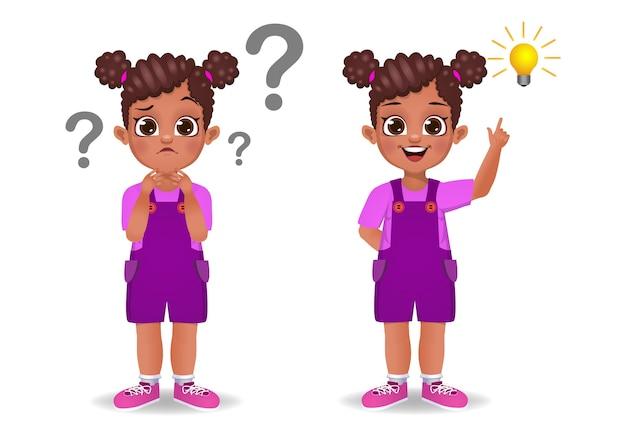 Idea de pensamiento de niño lindo aislado en blanco