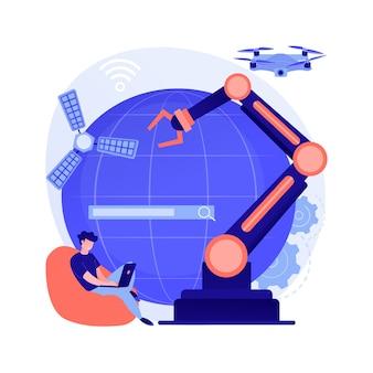 Idea de tecnologías espaciales. exploración del cosmos, desarrollo de nanotecnología, informática e ingeniería. inventos futuristas. cohete controlado por ia. ilustración de metáfora de concepto aislado de vector