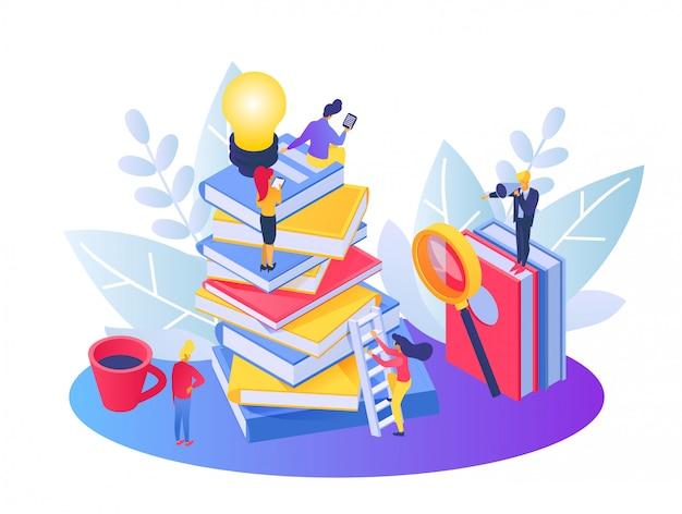 Idea de trabajo en equipo de negocios, pequeñas personas de dibujos animados subiendo en la escalera de libros superior, logro empresarial en blanco