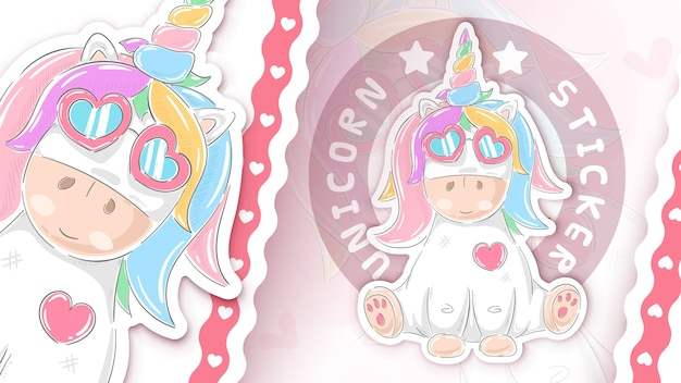 Idea de unicornio de peluche para tu pegatina dibujar a mano