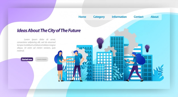 Ideas para una ciudad mejor en el futuro, mecanismo de ciudad inteligente y cooperación con agitación de manos. plantilla web de la página de destino