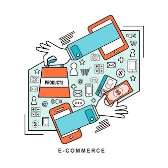 Ideas de comercio electrónico: compra de productos a través de una tienda online en estilo de línea.